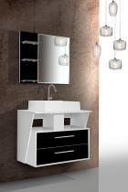 Gabinete Banheiro Fimap Inspira City Espelheira Branco Preto - Fimap