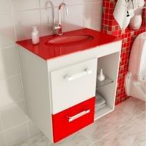 Gabinete Linea 12 60 cm 1 Porta 1 Gaveta Branco  Vermelho - Tomdo