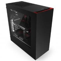 Gabinete nzxt s340 preto/vermelho - lateral em acrilico s/ fonte - ca-s340mb-gr - Nzxt