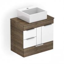 Gabinete para Banheiro 1 Porta 3 Gavetas com Cuba Loft Incepa Wengue/Branco -