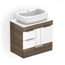 Gabinete para Banheiro 1 Porta 3 Gavetas com Cuba Thema Incepa Wengue/Branco -