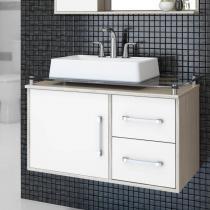 Gabinete para Banheiro Centauri 80cm Cerocha (Acompanha Cuba e Tampo em Vidro) Berlin / Branco -