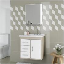 Gabinete para Banheiro Cerocha Canopus com Cuba - e Espelheira 1 Porta 3 Gavetas