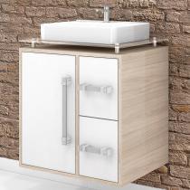 Gabinete para Banheiro Cerocha Centauri 60 cm (Acompanha Cuba e Tampo) Berlin / Branco - Cerocha