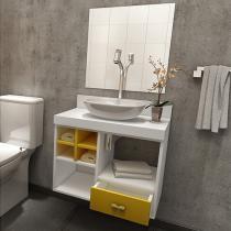Gabinete para Banheiro com Cuba e Espelho - 1 Gaveta VTec Kit Bento