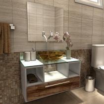 Gabinete para Banheiro com Cuba e Espelho - 1 Gaveta VTec Kit Enzo