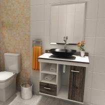 Gabinete para Banheiro com Cuba e Espelho - 1 Porta 1 Gaveta VTec Kit Becrux