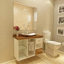 Gabinete para Banheiro com Cuba e Espelho - 1 Porta 1 Gaveta VTec Orion