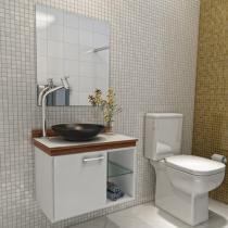 Gabinete para Banheiro com Cuba e Espelho 1 Porta - VTec Alpha