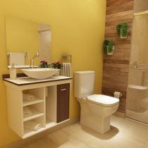 Gabinete para Banheiro com Cuba e Espelho 1 Porta - VTec Kit Hadar