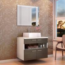 Gabinete para Banheiro com Cuba e Espelho 2 Portas - 2 Gavetas - Móveis Bechara Paris
