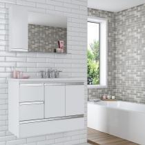 Gabinete para Banheiro com Espelheira Dubhe 80 Cerocha (Acompanha Espelheira) Branco -