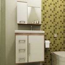 Gabinete para Banheiro com Espelho 2 Portas - 3 Gavetas - Móveis Bechara Roma II