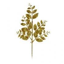 Galhos Médios Folhas Glitter Ouro 35 X 15 Cm - Cromus