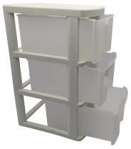 Gaveteiro plástico com 3 gavetas são bernardo - branco -