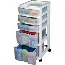 Gaveteiro plastico organizador de salão, brinquedos e ferramentas com 5 gavetas alto 74x41x32 com ro - Multbox