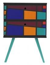 Gaveteiro Retro 0223 Quadriculado Color Preto - 24792 - Sun House