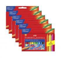 Giz de Cera 12 + 3 Cores Pct 6 Un Neon Faber Castell - Faber-castell