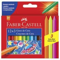 Giz de Cera 12 Cores + 3 Cores Neon - Faber Castell -