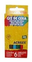 Giz De Cera Fino 6 Cores 9006 Acrilex - 1