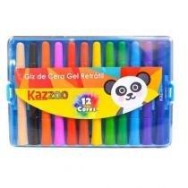 Giz de Cera Gel Retrátil 12 Cores KZ52250 Kaz -