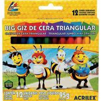 Giz de Cera Triangular Grosso 12 Cores Acrilex -