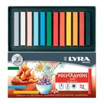 Giz pastel seco polycrayons lyra com 12 cores - 5651120 -