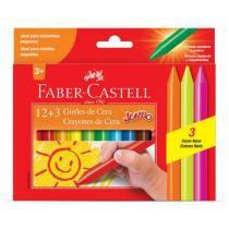 Gizão de cera - HT141115 - com 15 cores - Faber-Castell -