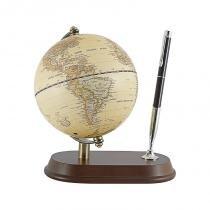 Globo com porta canetas em madeira marrom - Marrom - Goods br