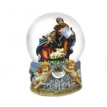Globo de Água Sagrada Família e Anjinhos 8.5cm Amor Eterno Santini Christmas -