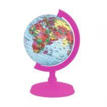 Globo Terrestre Libreria 10Cm Baby Rosa Pink 313994 Politico Base e Régua Plástico Rosa Pink -