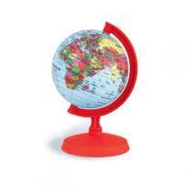 Globo Terrestre Libreria 10Cm Baby Vermelho 310030 Politico Base e Régua Plástico Vermelho -