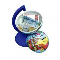 Globo Terrestre Libreria 10Cm Millenium Azul Royal 310054 Politico Base e Régua Plástico Azul Royal Cofrinho -
