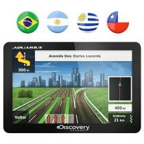 "GPS Automotivo Aquarius Discovery Channel Slim - Tela 4.3"" Touch Mapas 3D 5.524 Cidades Navegáveis"