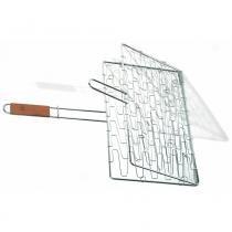 Grelha flexível de aço inox com cabo de madeira 63,5 cm - 23023 - Prana
