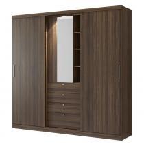 Guarda-roupa 2 Portas Com Espelho Zeus 1063 Ébano/Camurça - Carraro móveis