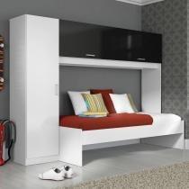 Guarda-roupa 3 portas com cama 1900 preto - Multimóveis