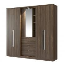Guarda-roupa 5 Portas Com Espelho Zeus 1053 Ébano/Camurça - Carraro móveis