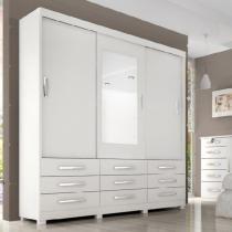Guarda-Roupa Cairo Casal 3 Portas e 9 Gavetas C/ Espelho  Branco - Branco - Casa