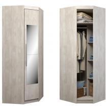 Guarda-roupa Canto 45 1 Porta C/ Espelho A203e Álamo Natural - Incolar móveis