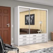 Guarda Roupa Casal 3 Espelhos 3 Portas de Correr Anjos Premium Siena Móveis Branco -