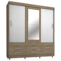 Guarda-roupa Casal 3 Portas de Correr 9 Gavetas - Araplac 4900-85 com Espelho
