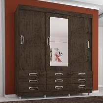 Guarda-roupa Casal 3 Portas de Correr 9 Gavetas - Araplac Atraente 4900-77 com Espelho