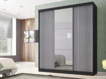 Guarda-roupa Casal 3 Portas de Correr - Poliman Móveis Madri com Espelho