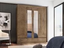 Guarda-roupa Casal 4 Portas 4 Gavetas Araplac - 4400-88 com Espelho