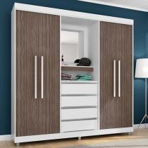 Guarda-roupa Casal 4 Portas 4 Gavetas - Araplac Prime 1644-30 com Espelho