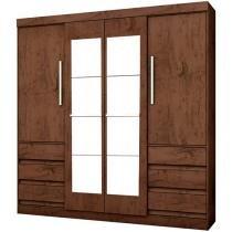 Guarda-roupa Casal 4 Portas 6 Gavetas - Araplac Atraente Linea com Espelho