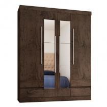 Guarda Roupa Casal 4 Portas com Espelho 4400 Imbuia - Araplac -