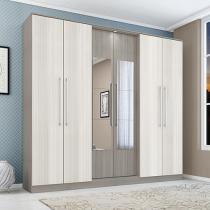 Guarda-roupa Casal 6 Portas 3 Gavetas - Poliman Móveis Versalhes com Espelho