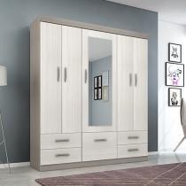 Guarda-roupa Casal 6 Portas 4 Gavetas - Poliman Móveis Liverpool com Espelho